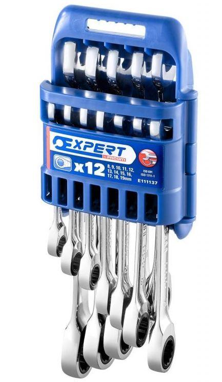 12dílná sada ráčnových očkoplochých klíčů bez přepínací páčky Tona Expert E111137