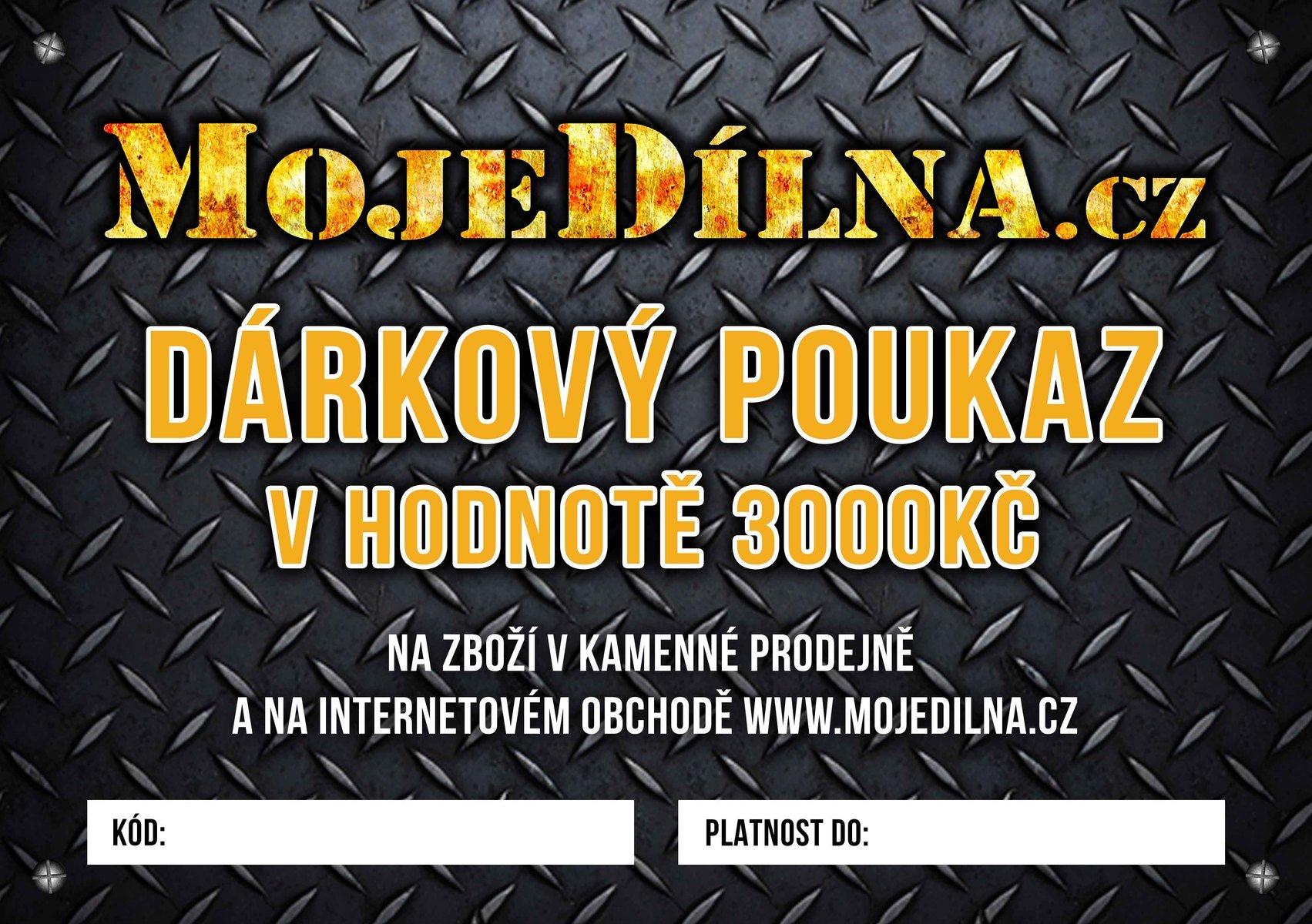 Dárkový poukaz MojeDílna.cz v hodnotě 3000 Kč - online, platba předem