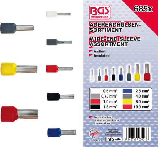 Dutinové elektrické konektory - dutinky 0,5-10,0 mm2, sada 685 ks - BGS 14120