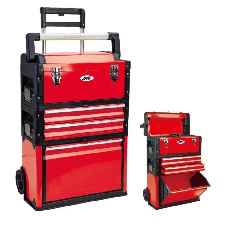 Kufr na nářadí pojízdný, třídílný, 520 x 320 x 720 mm, ocel-plast