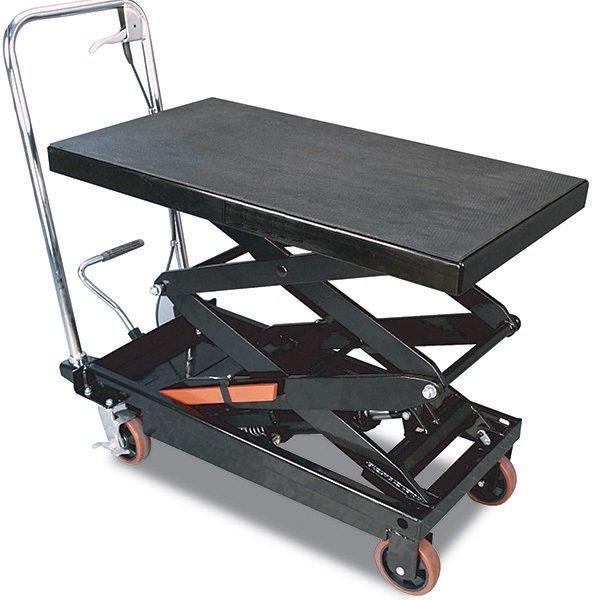 Pojízdný pracovní stůl zdvižný, nosnost 360 kg, zdvih 1290 mm, s hydraulickým systémem
