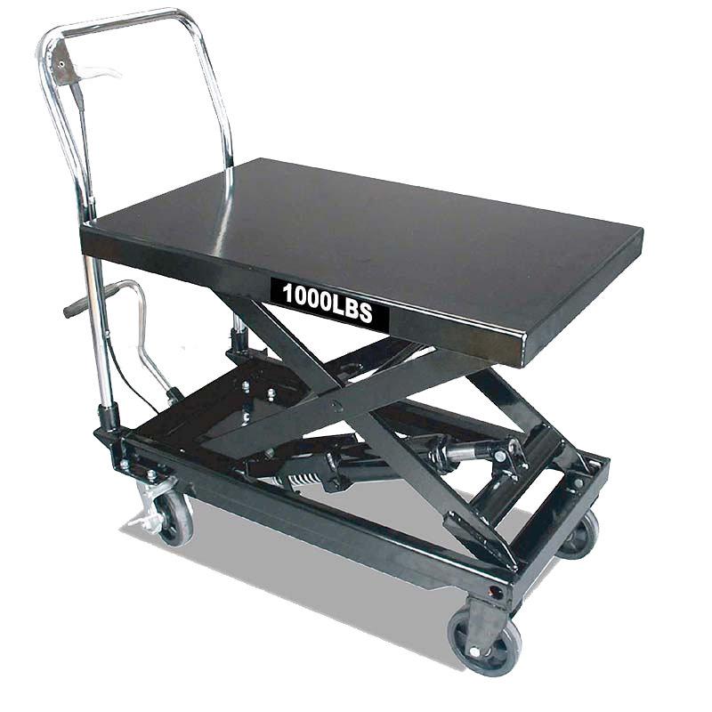 Pojízdný pracovní stůl zdvižný, nosnost 450 kg, s hydraulickým systémem