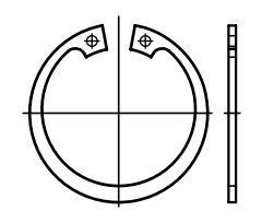 Pojistné kroužky do otvoru - vnitřní segrovky DIN 472, vnější průměr 22 mm, balení 6 kusů
