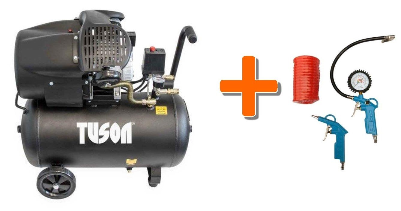 Olejový kompresor dvoupístkový 2,2kW; 3,0HP; 50l TUSON 130024 + Pneu sada 3 dílná WJ002030