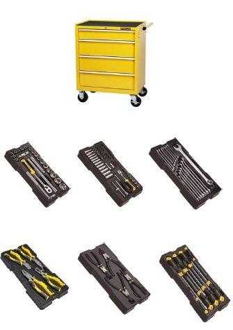 Dílenský vozík vybavený Stanley S3, 4 zásuvky + 6 modulů