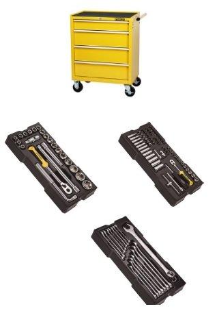 Dílenský vozík vybavený Stanley S2, 4 zásuvky + 3 moduly