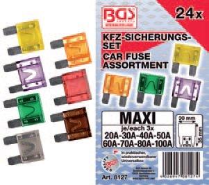 Pojistky nožové MAXI pro užitková vozidla 24ks (20-100A) - BGS 81271