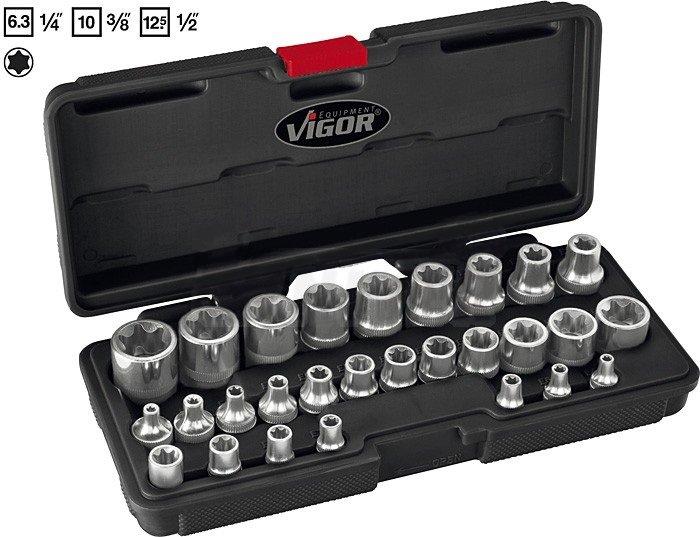 28-dílná sada nástrčných hlavic TORX, e-profil - Vigor V2687