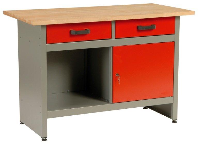 Dílenský stůl, 2 x zásuvka, 1 x dvířka, 120x60x84cm - MARS 4801