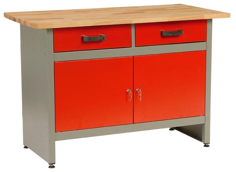 Dílenský stůl, 2 x zásuvka, 2 x dvířka, 120x60x84cm - MARS 4800