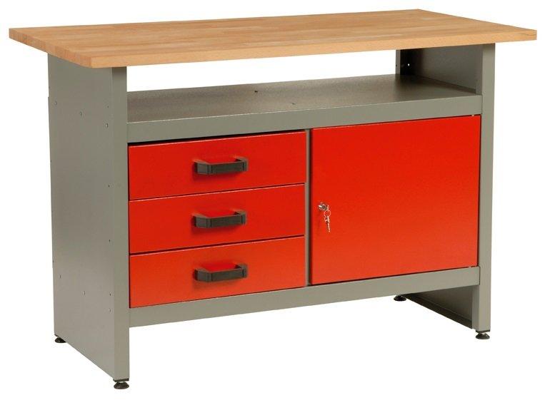 Dílenský stůl, 3 x zásuvka, 1 x dvířka, 120x60x84cm - MARS 5804