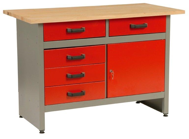 Dílenský stůl, 5 x zásuvka, 1 x dvířka, 120x60x84cm - MARS 5802