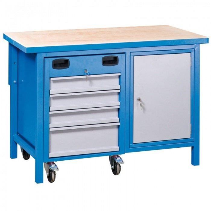 Pracovní stůl MULTI , 1x 4 zásuvkový kontejner, 1x skříňka