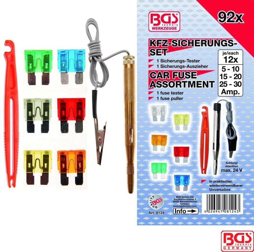 Pojistky nožové 5-30 A + Zkoušečka 6-24V 92 dílů - BGS 8124