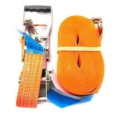 Upínací pás s ergonomickou ráčnou a háky 5T/10m/50mm