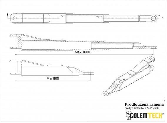 Třídílná prodloužená ramena ke dvousloupovému zvedáku Golemtech - 2ks