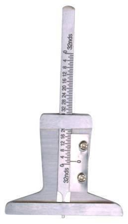 Měřič hloubky dezénu pneu, kovový plochý 0-32mm