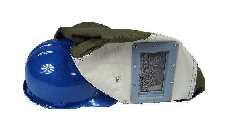 Ochranná maska s přilbou na pískování