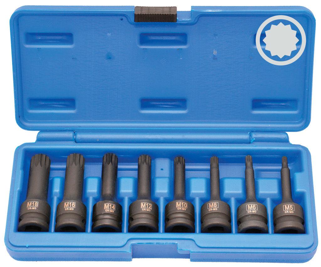 """Sada kovaných prodloužených hlavic 1/2"""" - SPLINE (XZN) M5-M18"""