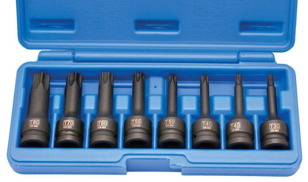 """Sada kovaných prodloužených hlavic 1/2""""- (TORX) T30-T80"""