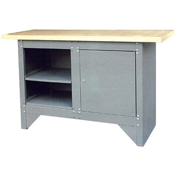 Kovový pracovní stůl s 2 odkládacími prostory a uzamykatelnou skříňkou šedý