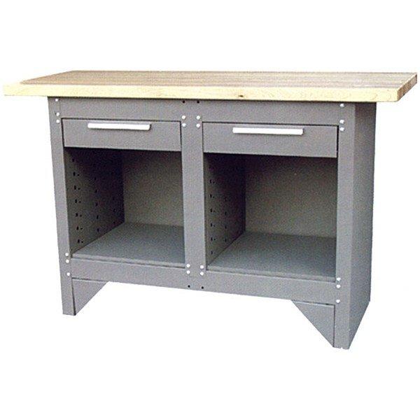 Kovový pracovní stůl s 2 zásuvkami a 2 spodními odkládacími prostory  šedý