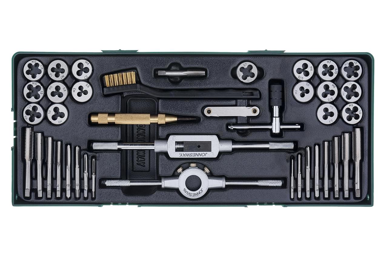 Závitníky a závitová očka s automatickým důlčíkem, kazeta, 40 ks - JONNESWAY AG10001SP