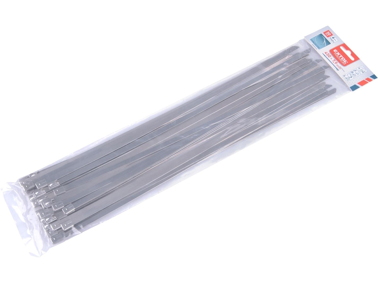 Stahovací pásky 450 x 7,9 mm nerezové, sada 50 ks - EXTOL PREMIUM EX8856282