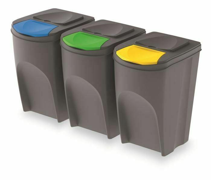 Odpadkové koše SORTIBOX 392x293x620 mm 35 litrů, šedý kámen, sada 3 ks