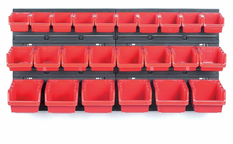 Závěsná stěna, držák s 24 boxy, 800x165x400 mm, plast - ORDERLINE