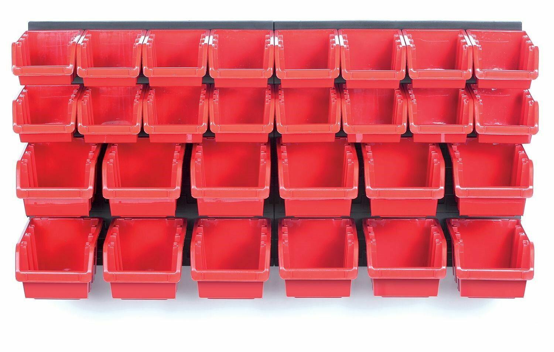 Závěsná stěna, držák s 30 boxy, 800x165x400 mm, plast - ORDERLINE
