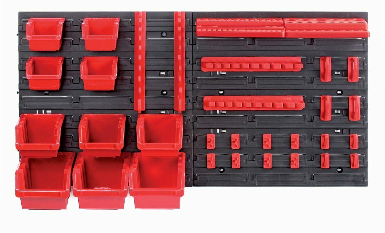 Závěsná stěna, držák s 10 boxy a 22 úchyty na nářadí, 800x165x400 mm, plast - ORDERLINE