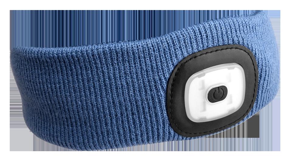 Čelenka s čelovkou 180 lm, nabíjecí USB, univerzální velikost, modrá - SIXTOL