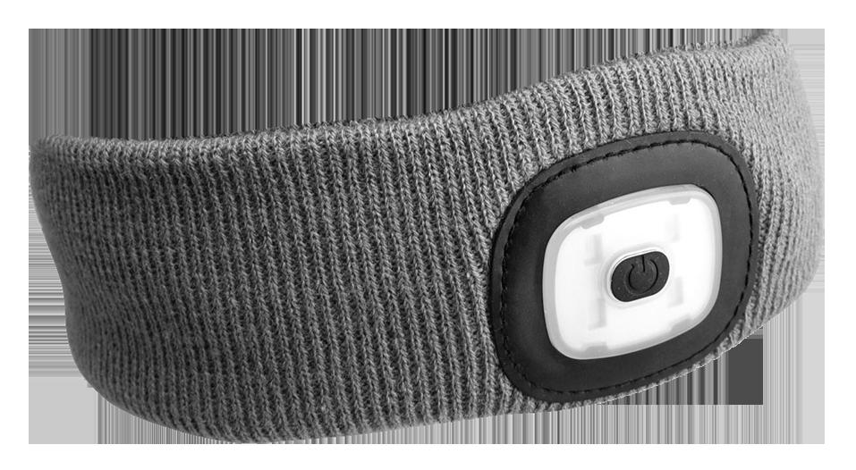 Čelenka s čelovkou 180 lm, nabíjecí USB, univerzální velikost, světle šedá - SIXTOL