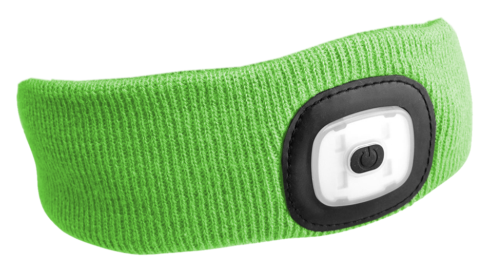 Čelenka s čelovkou 180 lm, nabíjecí USB, univerzální velikost, fluorescentní zelená SIXTOL