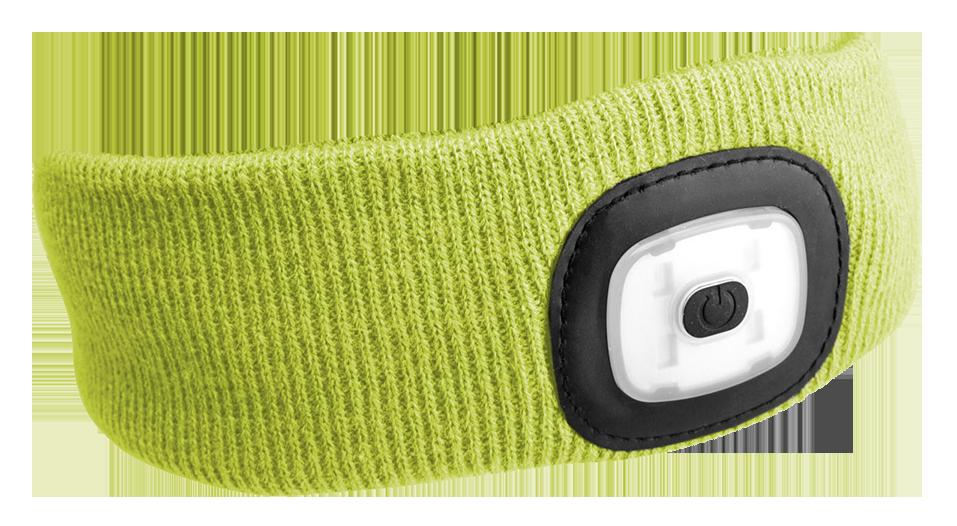 Čelenka s čelovkou 180 lm, nabíjecí USB, univerzální velikost, fluorescentní žlutá SIXTOL