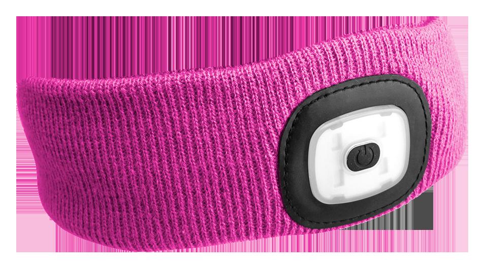 Čelenka s čelovkou 180 lm, nabíjecí USB, univerzální velikost, růžová - SIXTOL