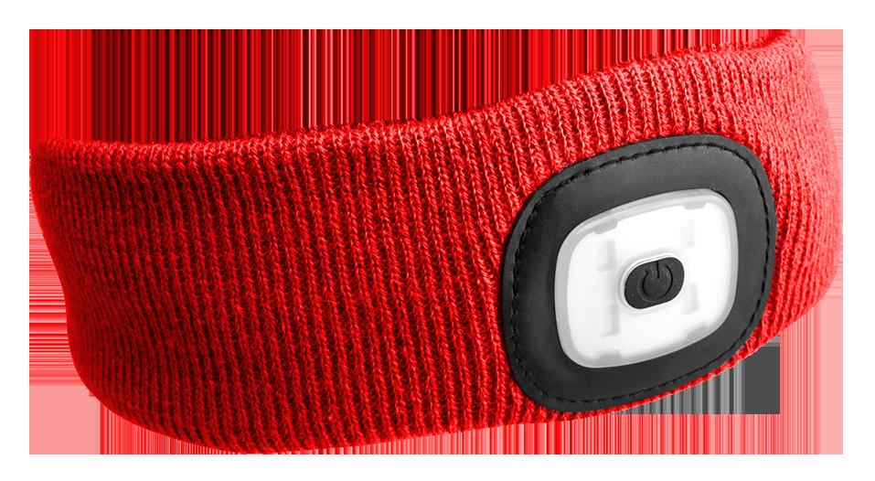 Čelenka s čelovkou 180 lm, nabíjecí USB, univerzální velikost, červená - SIXTOL