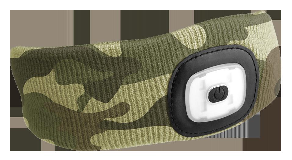 Čelenka s čelovkou 180 lm, nabíjecí USB, univerzální velikost, maskáčová - SIXTOL