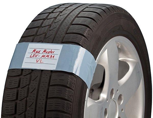 Pásky se štítkem na kola, polyethylén, sada 250 ks