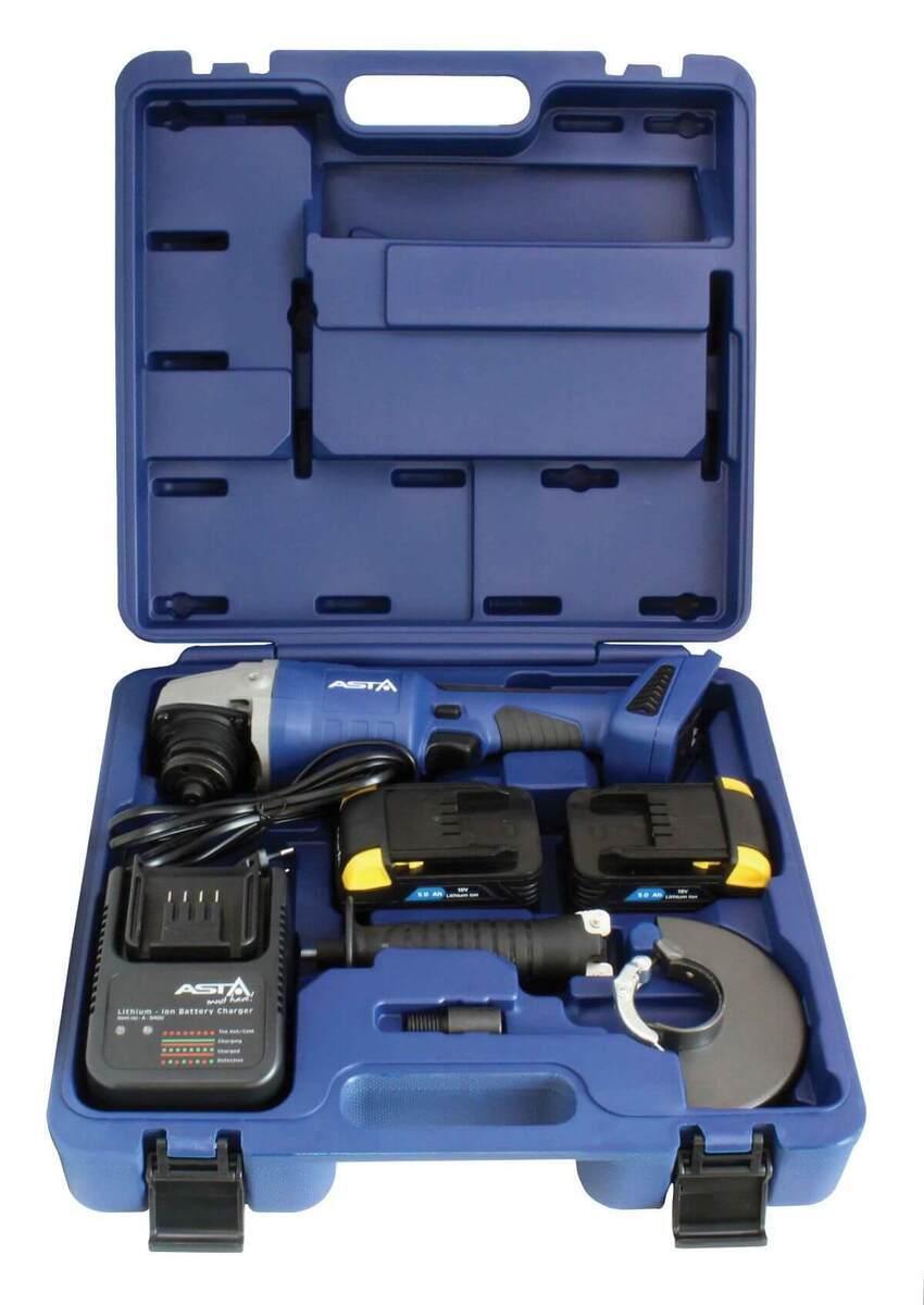 Aku úhlová bruska 125 mm, 18V Li-Ion 5,0 Ah, s bateriemi a nabíječkou - ASTA