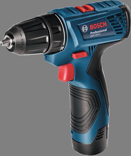 Aku vrtací šroubovák Bosch GSR 120-LI Professional, 2x aku 1,5 Ah, kufr - 06019F7001
