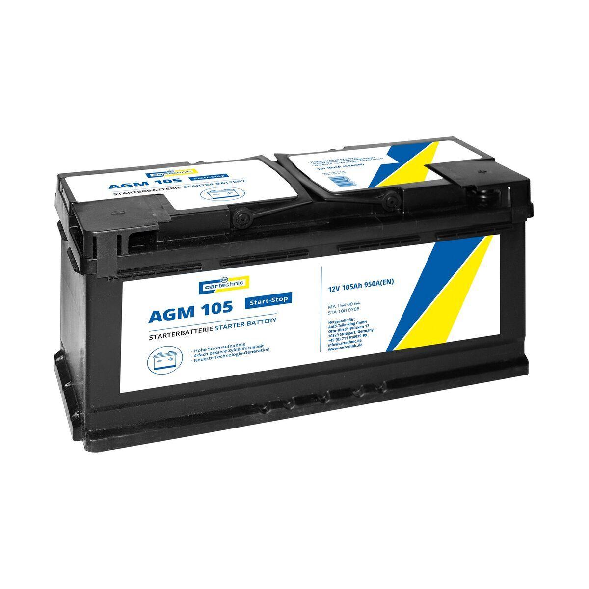 Autobaterie AGM 105 Ah 12V, pro start-stop systém, 392x175x190 mm - Cartechnic