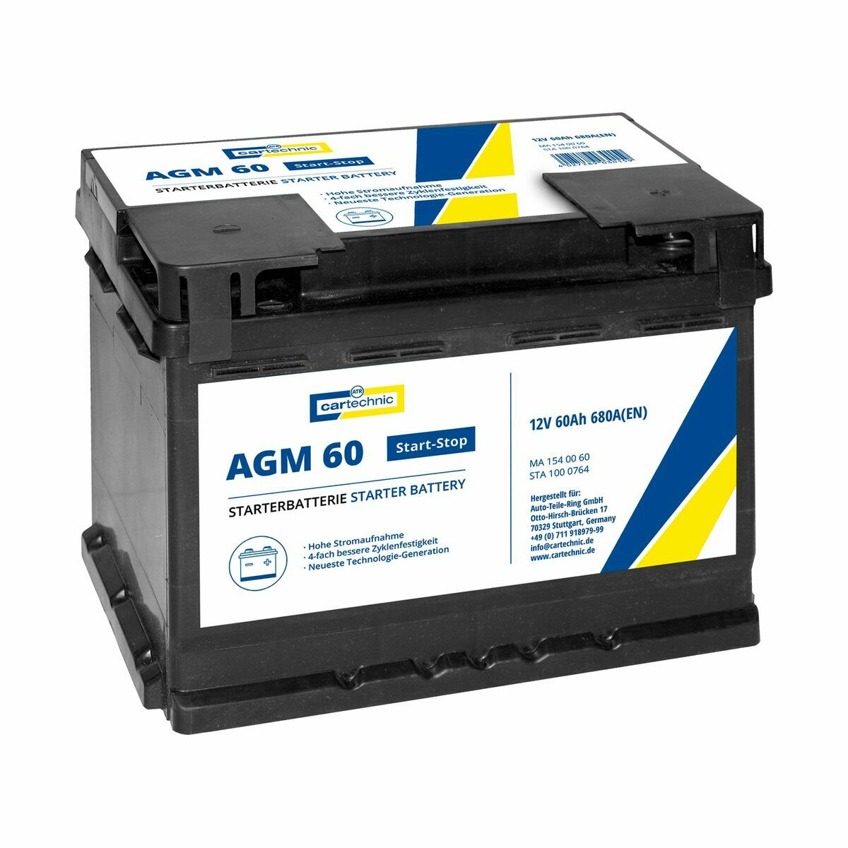 Autobaterie AGM 60 Ah 12V, pro start-stop systém, 242x175x190 mm - Cartechnic