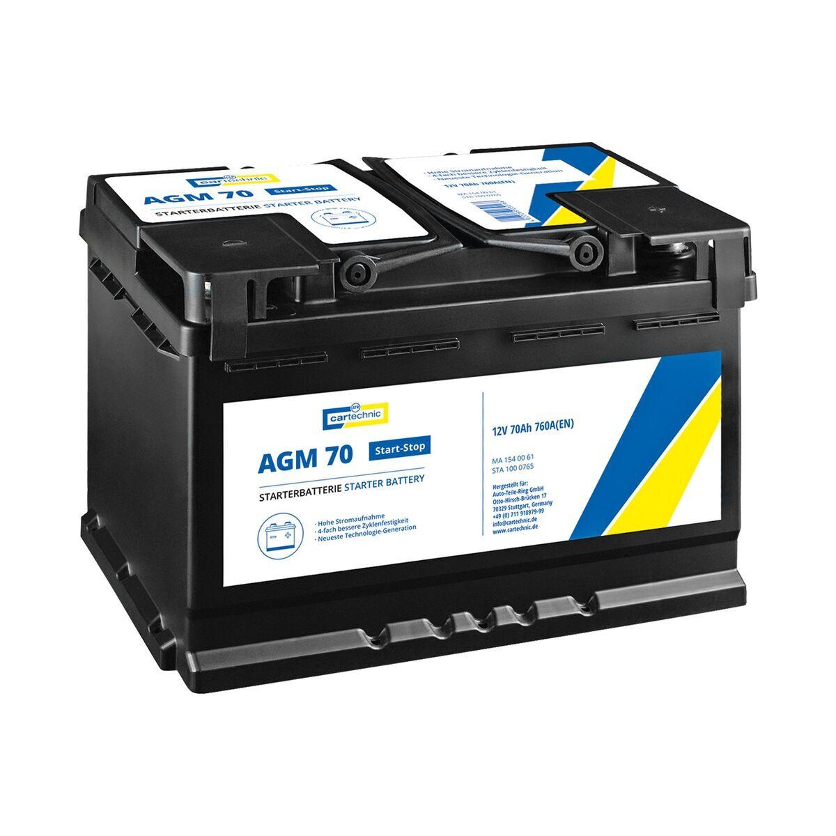 Autobaterie AGM 70 Ah 12V, pro start-stop systém, 278x175x190 mm - Cartechnic