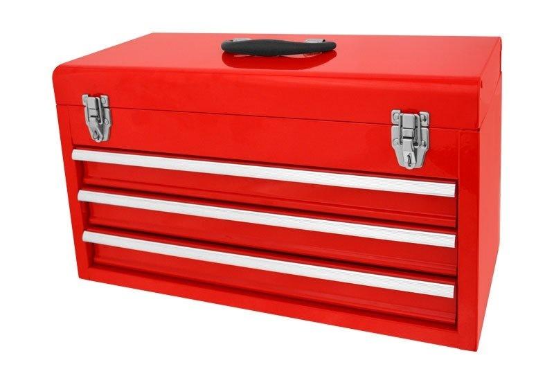 Kufr na nářadí - bedna 520 x 220 x 300 mm, 3 zásuvky a úložný prostor, kov