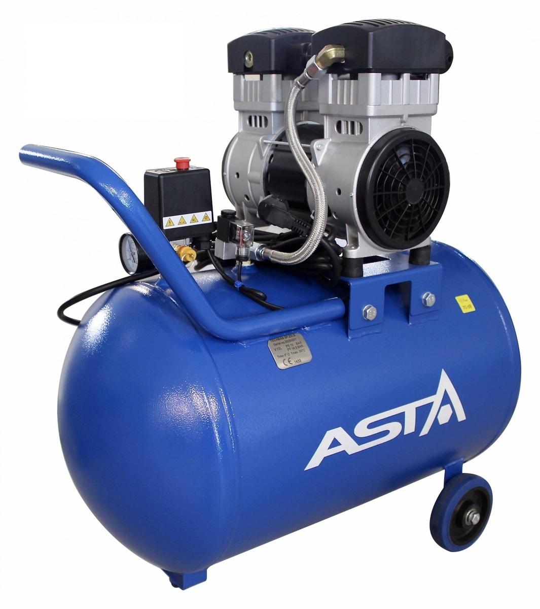 Bezolejový vzduchový kompresor dvouválcový, 72 l, 230 V - ASTA