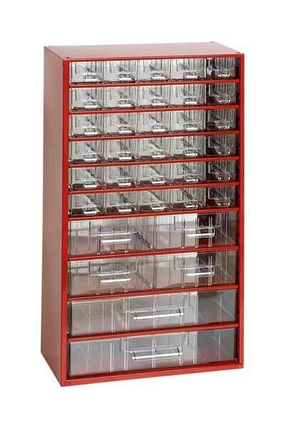 Box na nářadí MAXI – 30xA, 4xB, 2xC, červená barva - Mars 6765C