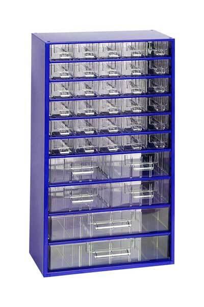 Box na nářadí MAXI – 30xA, 4xB, 2xC, modrá barva - Mars 6765M