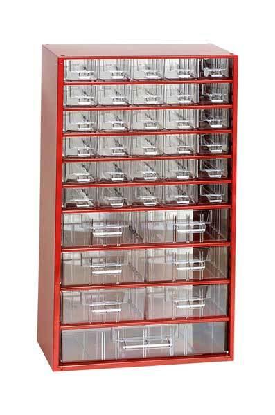 Box na nářadí MAXI - 40xA, 6xB, 1xC, červená barva - MARS 6723C